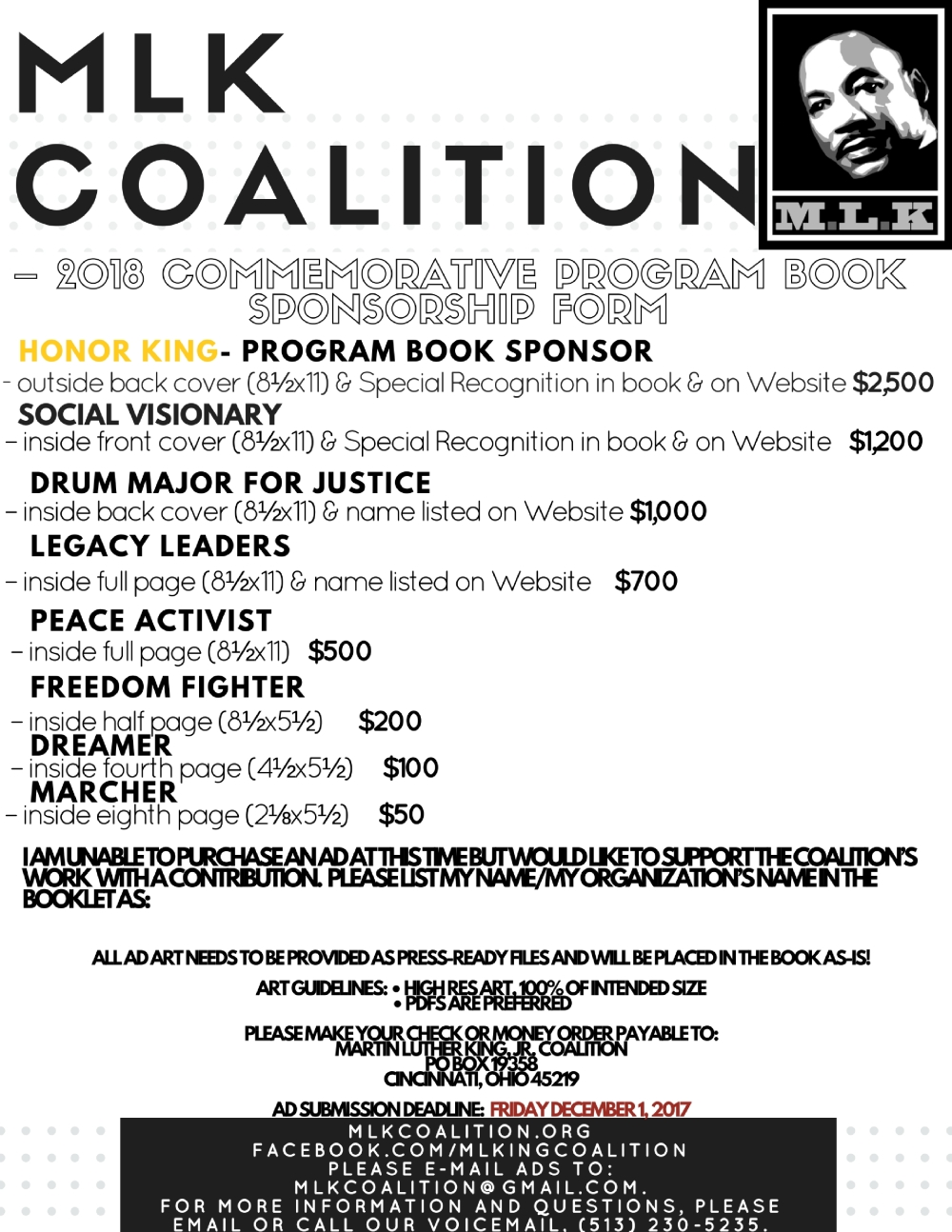The Martin Luther King, Jr. Coalition – 2018 Commemorative Program Book Sponsorship FormOrganizationCompany Name- _______________________________________________________Address- (4)